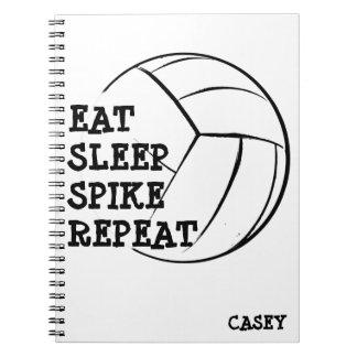 Eat Sleep Spike Repeat Volleyball Notebook