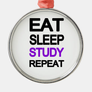 Eat sleep study repeat Silver-Colored round decoration