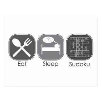 Eat Sleep Sudoku Copy Postcard