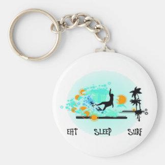Eat Sleep Surf Basic Round Button Key Ring