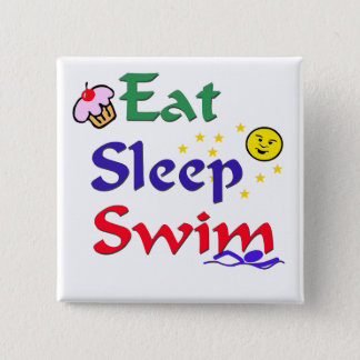 Eat Sleep Swim 15 Cm Square Badge