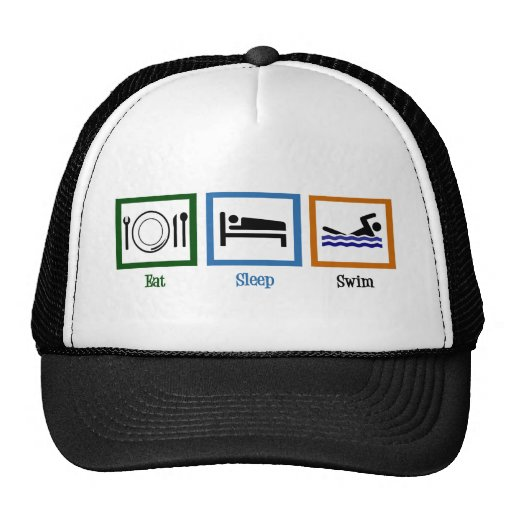 Eat Sleep Swim Mesh Hat