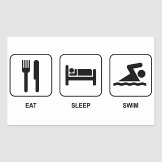 Eat Sleep Swim Rectangular Sticker