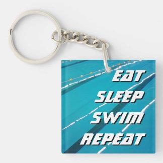 EAT SLEEP SWIM REPEAT swimming pool keychain