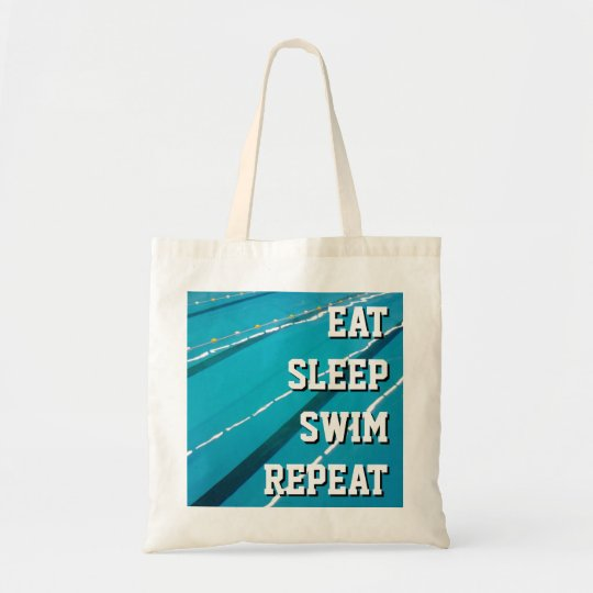 EAT SLEEP SWIM REPEAT swimming pool tote bags