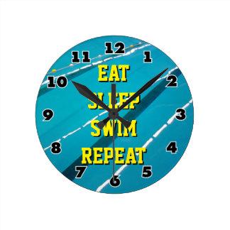 EAT SLEEP SWIM REPEAT swimming pool wall clock