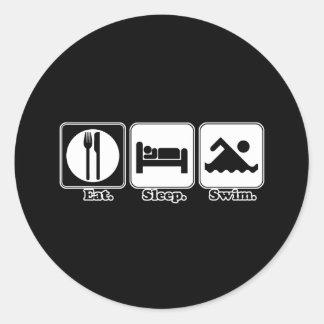 eat sleep swim round sticker