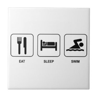 Eat Sleep Swim Small Square Tile
