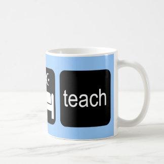 Eat sleep teach basic white mug