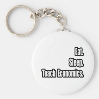 Eat. Sleep. Teach Economics. Basic Round Button Key Ring