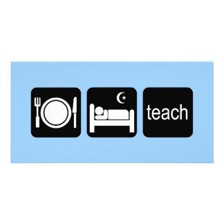 Eat sleep teach photo card template