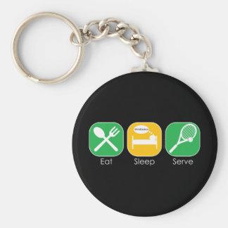 Eat Sleep Tennis Basic Round Button Key Ring