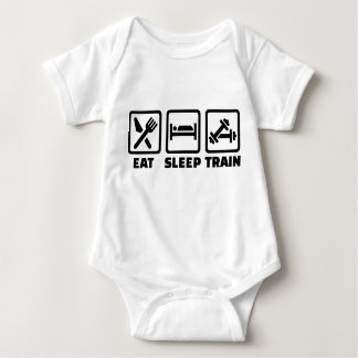 Eat Sleep Train Bodybuilding Baby Bodysuit