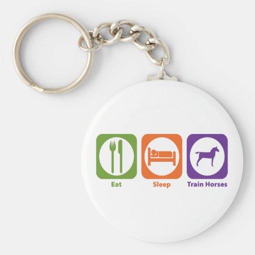 Eat Sleep Train Horses Key Chains