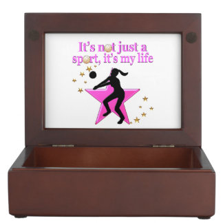 EAT, SLEEP, TRAIN, PINK VOLLEYBALL STAR DESIGN KEEPSAKE BOXES