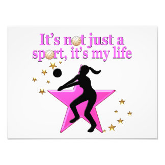 EAT, SLEEP, TRAIN, PINK VOLLEYBALL STAR DESIGN PHOTOGRAPHIC PRINT
