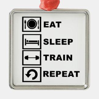 Eat, sleep, train, repeat. christmas ornament