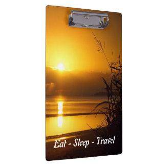 Eat Sleep Travel coastal sunrise clipboard