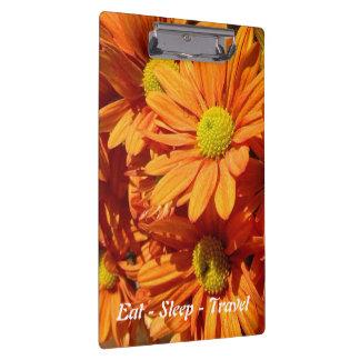 Eat Sleep Travel orange floral clipboard