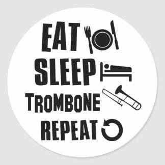 Eat Sleep Trombone Classic Round Sticker