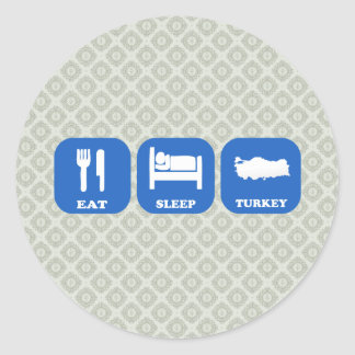 Eat Sleep Turkey Classic Round Sticker