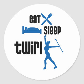 Eat Sleep Twirl Blue Classic Round Sticker