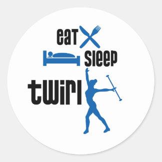 Eat Sleep Twirl Blue Classic Round Sticker
