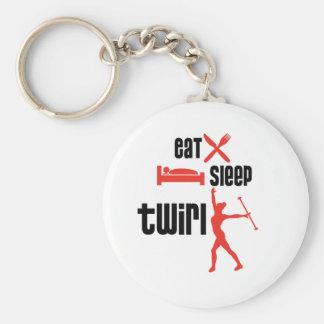 Eat Sleep Twirl Red Keychain