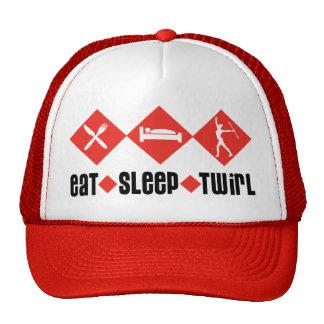 Eat Sleep Twirl Red Mesh Hats