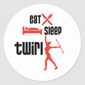 Eat Sleep Twirl Red Round Stickers