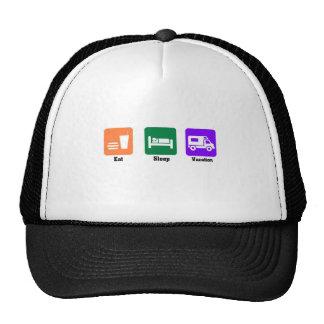 Eat sleep vacation trucker hat