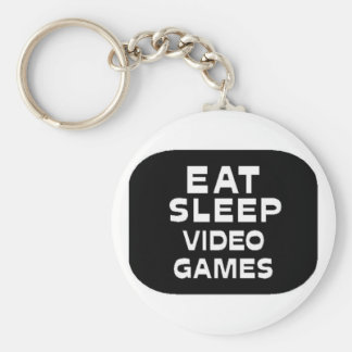 Eat Sleep Video Games Basic Round Button Key Ring