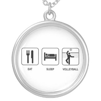 Eat Sleep Volleyball Round Pendant Necklace