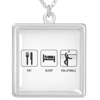 Eat Sleep Volleyball Square Pendant Necklace
