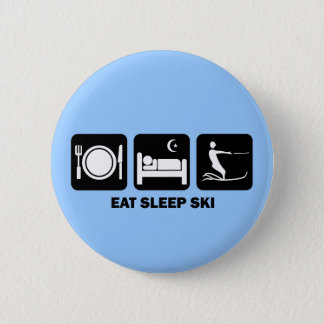 eat sleep water ski 6 cm round badge
