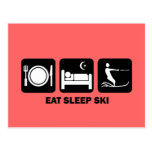 eat sleep water ski postcard