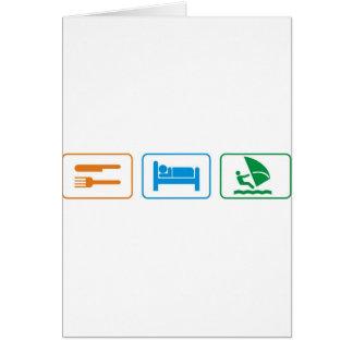 eat sleep windsurf greeting card