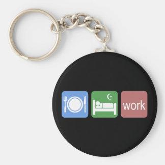 Eat sleep work basic round button key ring