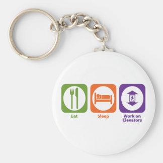 Eat Sleep Work on Elevators Basic Round Button Key Ring