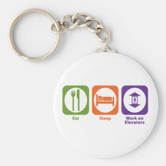 Eat Sleep Work on Elevators Key Ring