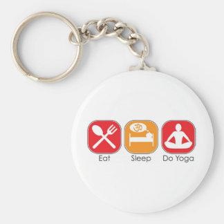 Eat Sleep Yoga Basic Round Button Key Ring