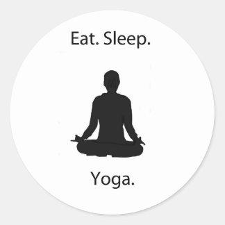 eat sleep yoga round sticker