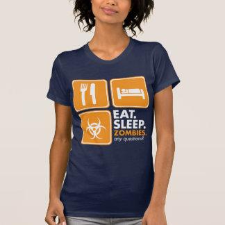 Eat Sleep Zombies - Orange and White T-Shirt