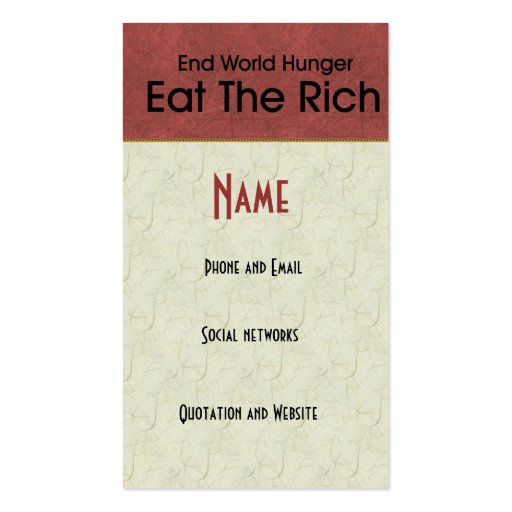 Eat The Rich Business Card Templates