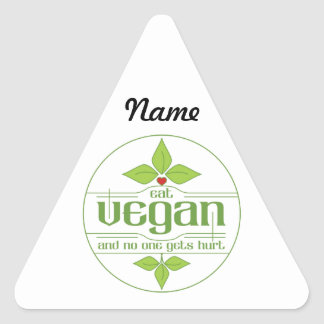 Eat Vegan and No One Gets Hurt Triangle Sticker