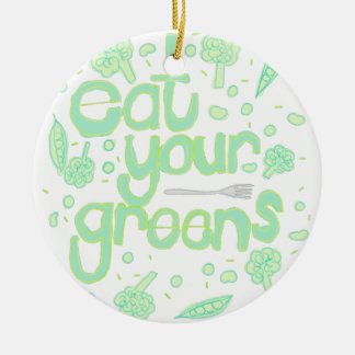 eat your greens round ceramic decoration
