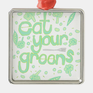 eat your greens Silver-Colored square decoration