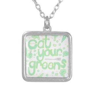 eat your greens silver plated necklace