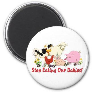 Eating Animal Babies 6 Cm Round Magnet
