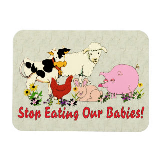 Eating Animal Babies Vinyl Magnets